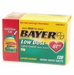 "Bayer低用量アスピリン Low Dose ""Baby"" Aspirin Pain Reliever, 81mg Enteric Coated Tablets 120錠"