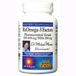 Natural Factors - RxOmega-3 Factors, EPA 400 mg/DHA 200 mg - 120ソフトジェル オメガ3 (別送料)